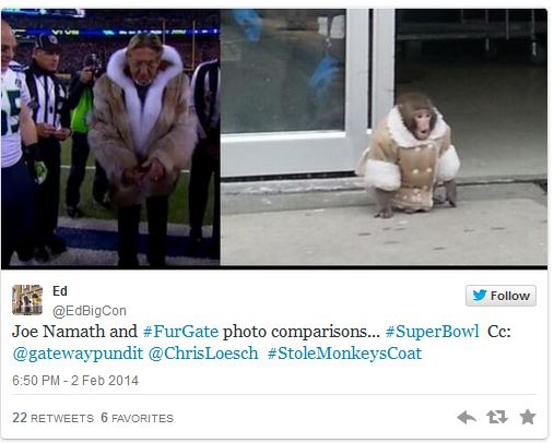 Tweet_JoeNamath Monkey
