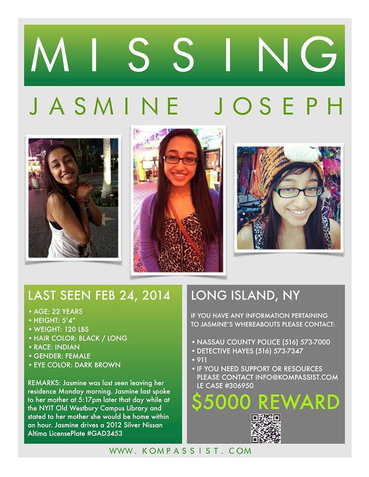 22 Year Old Jasmine Joseph Missing Since 2/24/14 in Syosset, NY ...