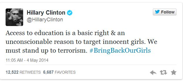 Hillary Clinton_Tweet_Abducted Girls
