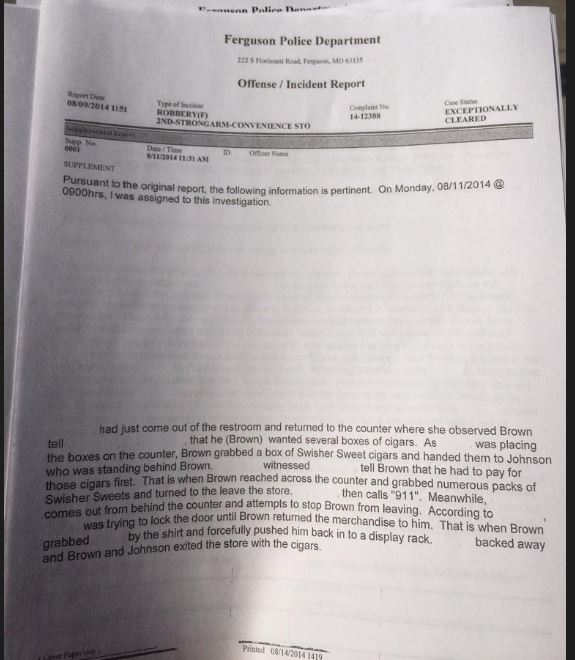 Ferguson Incident report 1