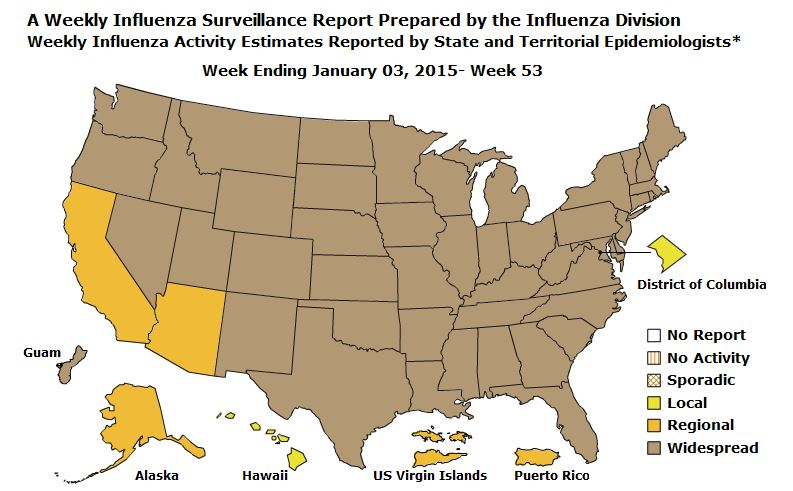 Flu map CDC 2014-2015