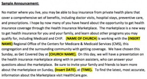 Obamacare_church sample announcement