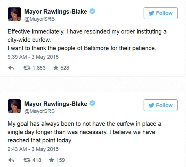 Baltimore Riots_mayor lifts curfew