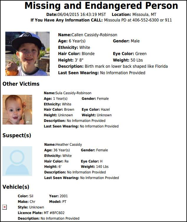 Missoula, MT Police, Issue Advisory for Missing 6 Year Old
