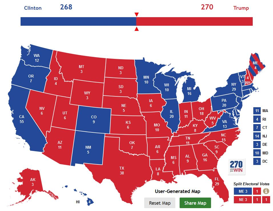 Electoral college map - trump