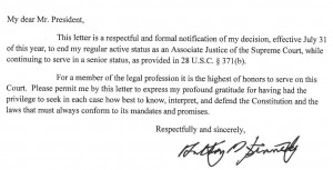 Justice Kennedy Retirement letter